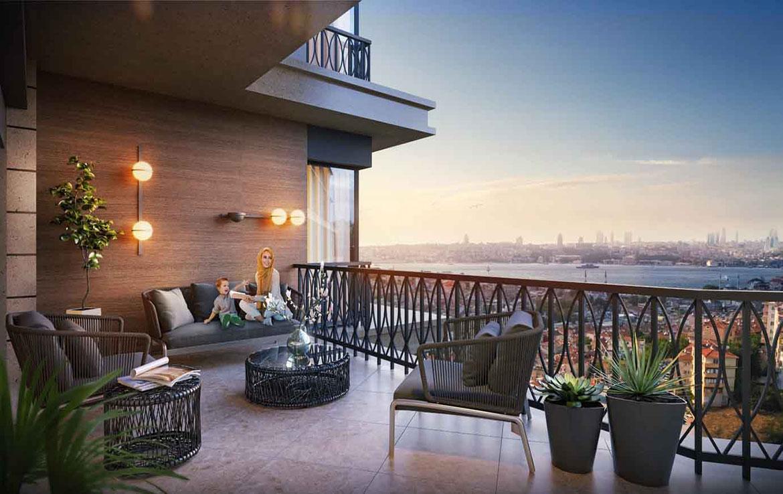 بالکن آپارتمان ها در اوسکودار استانبول